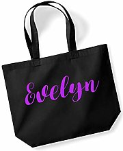 Evelyn Personalised Shopping Tote in Black Colour