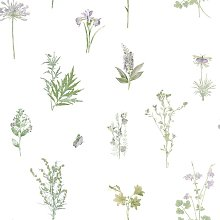 Evergreen Wallpaper Herbs And Flowers White -