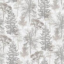 Evergreen Wallpaper Trees White amd Grey -