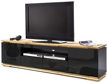 Everly TV Stand In Black High Gloss Lacquered And