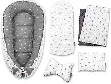 Evie Grey Bows Baby Comforter Set Fjørde & Co