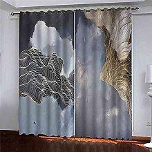 EWRMHG Blackout Curtains Abstract golden stripes