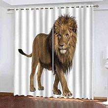 EWRMHG Blackout Curtains African savannah lion