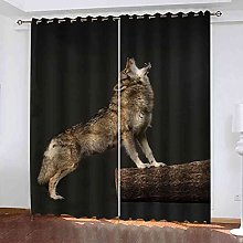 EWRMHG Blackout Curtains Animal wolf print 87x79