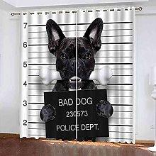 EWRMHG Blackout Curtains Black animal dog 87x79