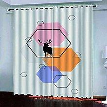 EWRMHG Blackout Curtains Elk geometric hexagon