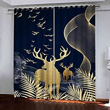 EWRMHG Blackout Curtains Golden animal fawn 87x79