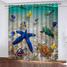 EWRMHG Blackout Curtains Ocean turtle starfish