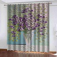 EWRMHG Blackout Curtains Purple vase 87x79 inch