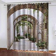 EWRMHG Blackout Curtains Vintage arched garden