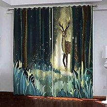 EWRMHG Blackout Curtains Watercolor grass elk