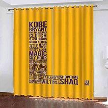 EWRMHG Blackout Curtains Yellow letter L 87x79
