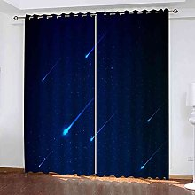 EWRMHG Super Soft Lined Eyelet Curtains Blue