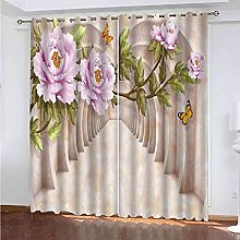 EWRMHG Super Soft Lined Eyelet Curtains Floral