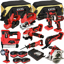 Excel 18V Cordless 10 Piece Tool Kit with 4