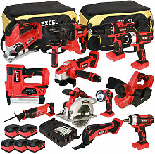 Excel 18V Cordless 12 Piece Tool Kit with 5 x