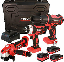 Excel 18V Cordless 3 Piece Tool Kit with 3 x