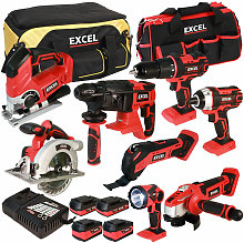 Excel 18V Cordless 8 Piece Tool Kit with 4