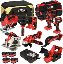 Excel 18V Cordless 8 Piece Tool Kit with 4 x 5.0Ah