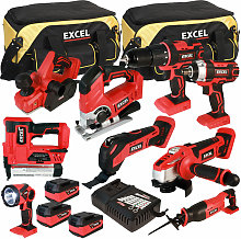 Excel 18V Cordless 9 Piece Tool Kit with 3 x 5.0Ah