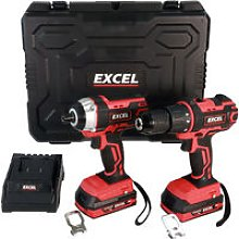 Excel 18V Impact Driver & Combi Drill with 2 x