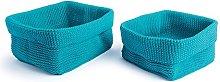 Excelsa Crochet Basket, Polypropylene, Blue, 20 x