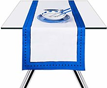 Excelsa Ocean Table Runner, Cotton, White and