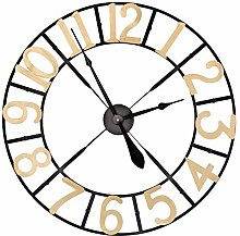 EXCLUSIVE BLACK AND GOLD LARGE METAL WALL CLOCK,