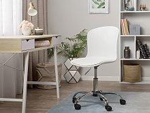 Executive Faux Leather Chair White Swivel Height