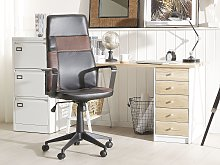 Executive Office Chair Black with Brown Faux