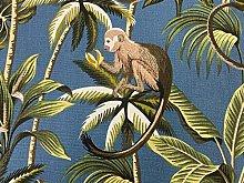 Exotic Palm Monkey Cotton Smoke Blue 140cm Wide