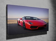 Expensive red Sports car Photo Canvas Print