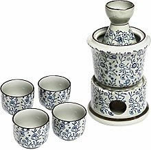Exquisite Ceramic Blue Flowers Japanese Sake Set