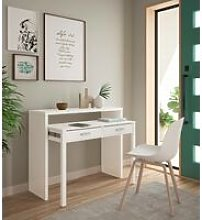 Extendable console desk with two drawers, white,