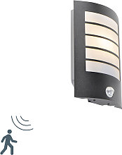 Exterior wall light black IP44 with motion sensor