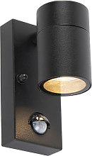 Exterior wall light black with motion sensor IP44