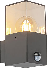 Exterior wall light dark gray with motion detector