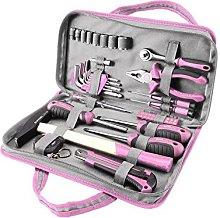 EXTOL CRAFT 6596 Tool Set 39 Piece, Pink, CRV