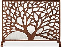 Extra Large Brown Fireplace Screen with Mesh