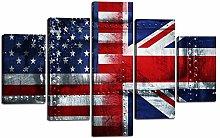 Extra Large USA British Flag Painting on Canvas 5