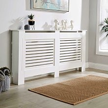 Extra Large White Radiator Cover Wooden MDF Wall