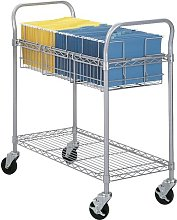 Extra Large Wire Mail Cart with 2 Shelves Symple