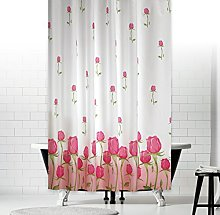 Extra Long Fabric Shower Curtain with Roses, Wide