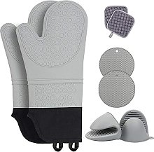 Extra Long Silicone Oven Mitts and Pot Holders