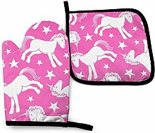 Eybfrre Pink Horse Oven Mitts and Potholders BBQ