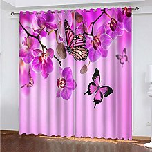 Eyelet Blackout Curtain Pink Flower Butterfly