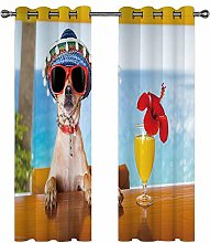 Eyelet Blackout Curtains 3D Dog with sunglasses