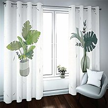 Eyelet Blackout Curtains 3D Potted plant with