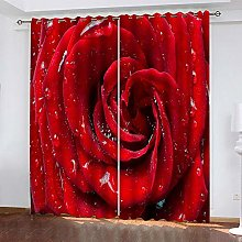 Eyelet Blackout Curtains Water Drops Roses Flowers