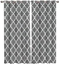 Eyelet Curtains Grey Print Pattern Pack Of 2